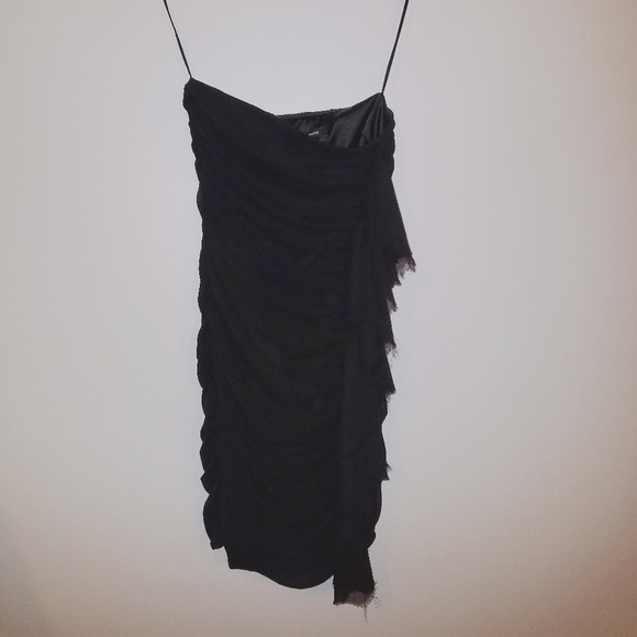 Express Dresses & Skirts - Strapless black dress with ruffle detail